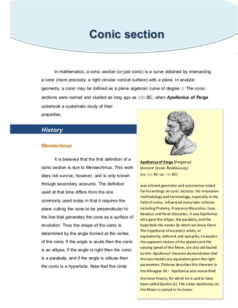 history of conic sections conic section
