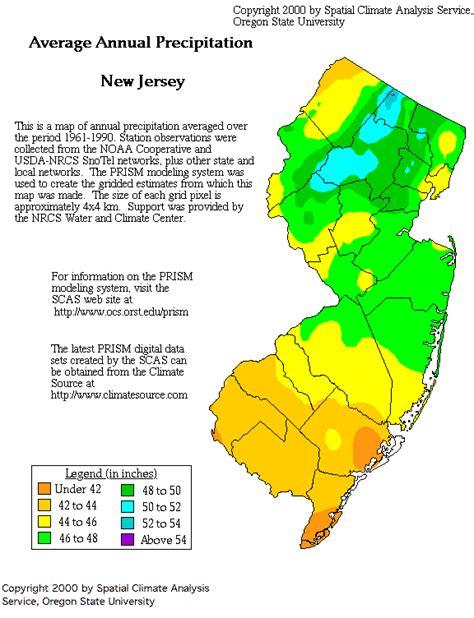 new jersey weather yearly new jersey precipitation map