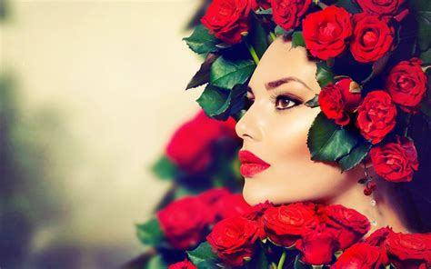 wallpaper girl red girl look makeup red lips roses wallpaper 1680x1050 19681