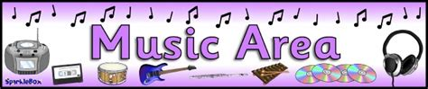 printable music banner music area printable classroom signs and labels for early