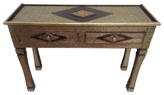 copper dining table room mediterranean with arabesque tile moroccan console table silver carved and etched metal
