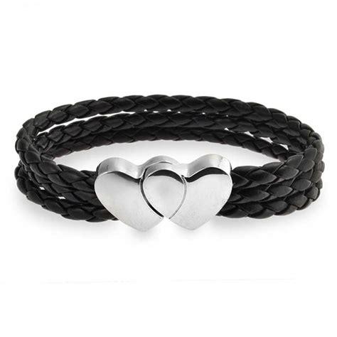 Leather Bracelet Black strand braided black leather bracelet