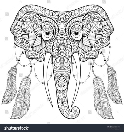 Boho Bird Coloring Page Cute Pattern Vector Black White Book