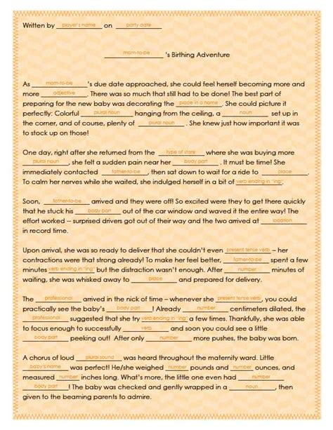 template for baby shower mad libs free printable baby shower mad lib tips tricks free