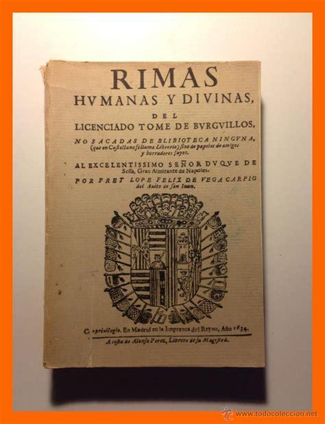 libro rimas humanas y divinas rimas humanas y divinas del licenciado tome de comprar libros antiguos cl 225 sicos en