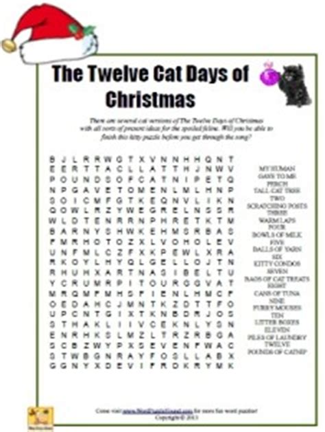 The Twelve Cat Days Of Christmas Word Search Word Puzzle