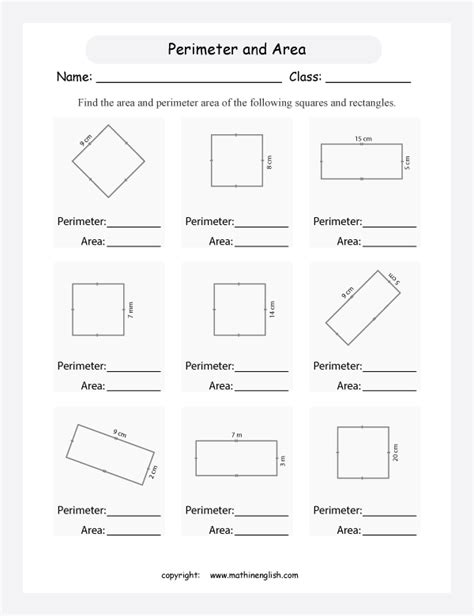 free printable area worksheets grade 3 calculate the perimeter and area of these rectangles and