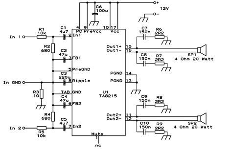 car lifier integrated circuit ic ta8215 based on 15w car audio lifier free electronic circuit diagrams