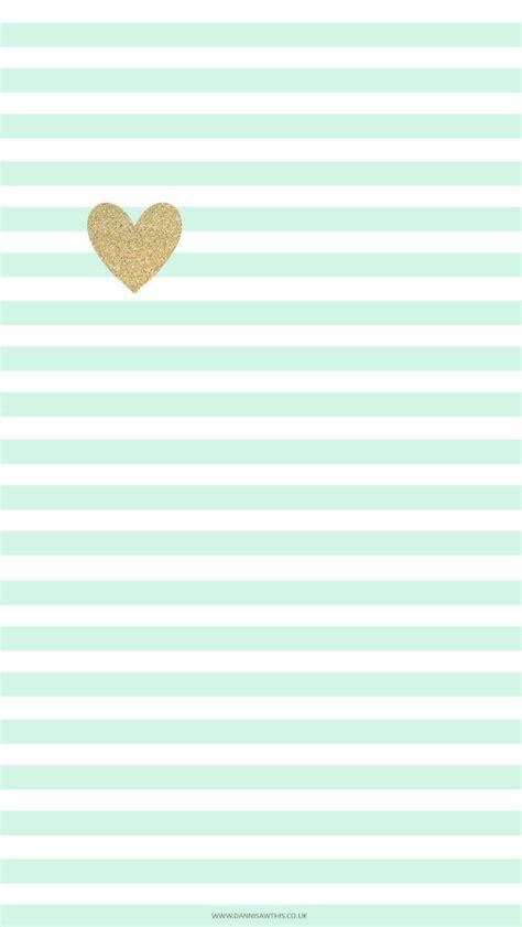 Striped Wallpaper Pinterest | mint green stripes and gold heart cute phone wallpaper