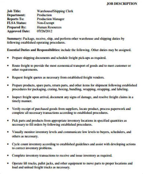 Warehouse Associate Description by Warehouse Associate Description Sle 8 Exles In Word Pdf