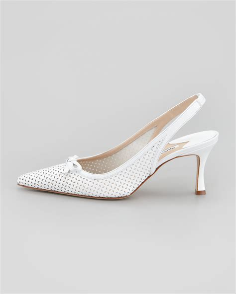 Perforated Sling Back Flats manolo blahnik olaschi perforated leather slingback