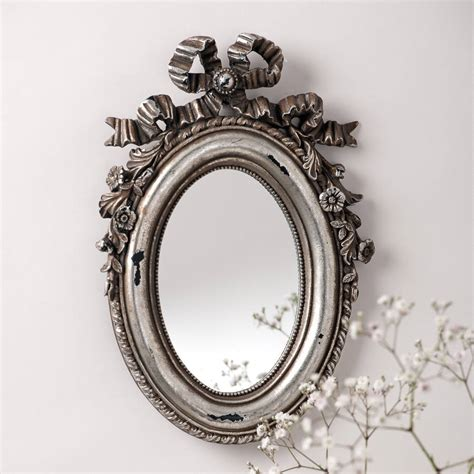 Handcrafted Mirrors - silver bow oval vintage mirror by crafted mirrors