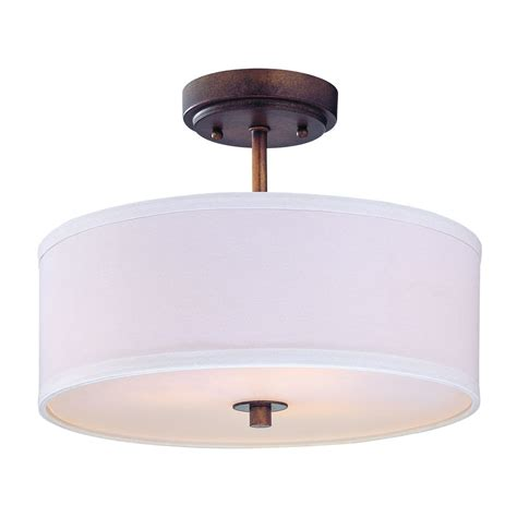 Drum Lighting For Ceilings Semi Flush Light With White Drum Shade 14 Inches Wide Ebay