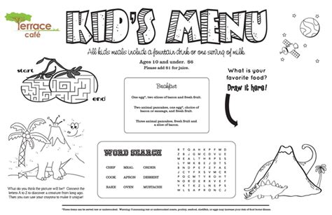 restaurant menu template for kids world of printable and