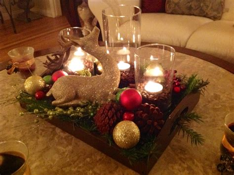 furniture coffee table christmas decor with pine cone and