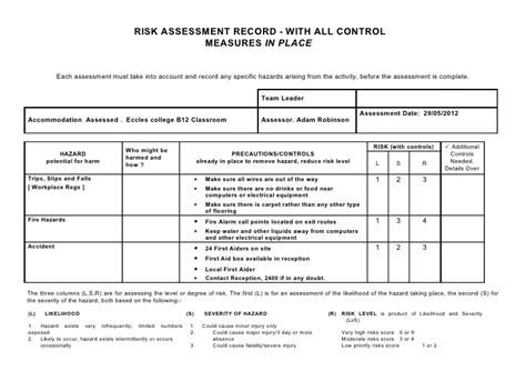 student risk assessment template risk assessment classroom