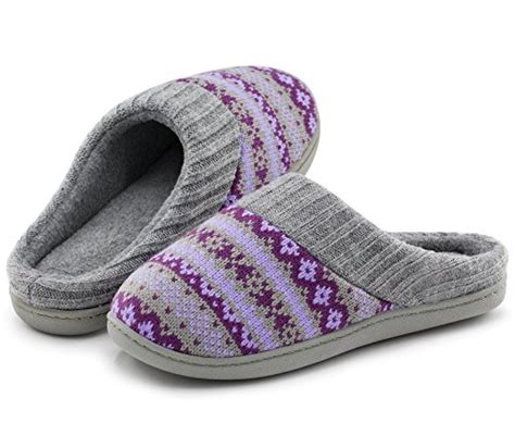 cute house slippers women s sweater knit memory foam house slippers w cute embroidered pattern and ribbed