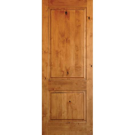 krosswood doors 30 in x 96 in rustic knotty alder 2 panel square top solid wood stainable