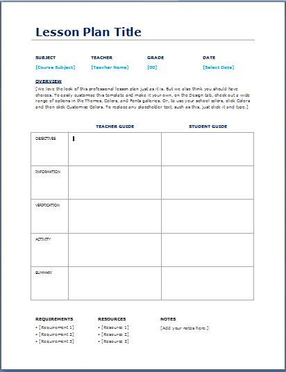 lesson plan template for teachers daily lesson planner template formal word templates