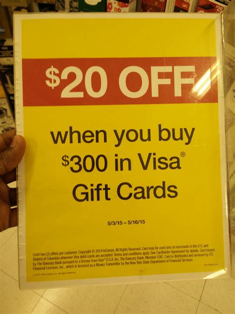Gift Cards 20 Off - hot deal 20 off your purchase of 300 or move in visa gift cards at office depot