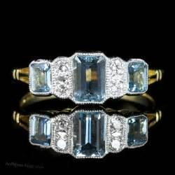 aquamarine deco engagement ring antiques atlas deco aquamarine engagement ring