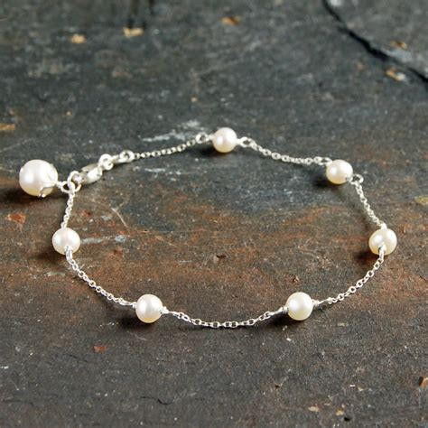 delicate sterling silver and pearl bracelet by highland angel   notonthehighstreet.com