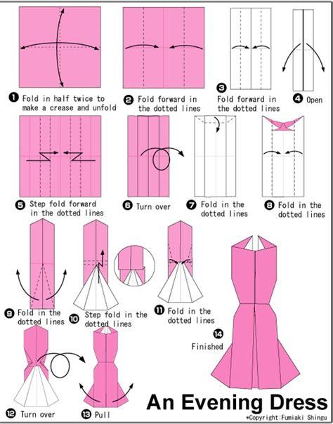 How To Make A Paper Dress - origami evening dress folding origami