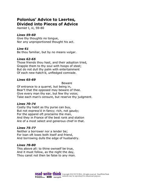 Polonius Essay by Polonius Advice To Laertes Essay