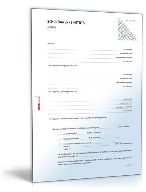 Vorlage Schuldschein Schweiz Schuldanerkenntnis Mit Ausgleichsverpflichtung Muster Zum