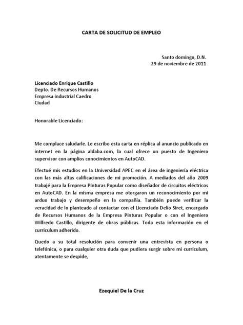 carta de de empleo carta de solicitud de empleo