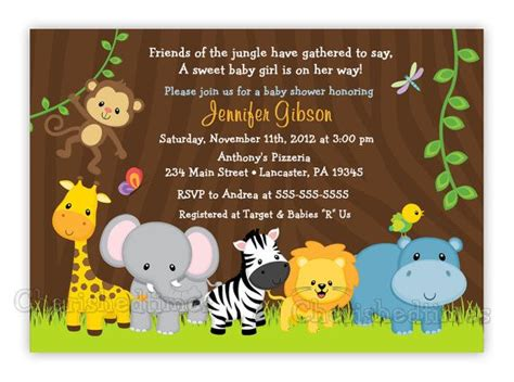 Jungle Friends Girl Or Boy Baby Shower Or Birthday Invitation Digital File Boys Girls And Friends Themed Invitation Template