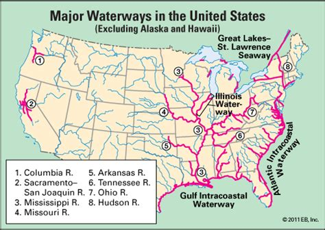 united states bodies of water map waterway major waterways in the united states