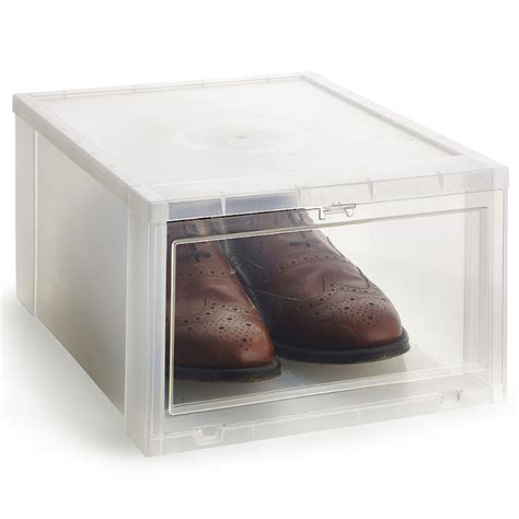 clear shoe storage boxes lakeland large stackable drop front clear shoe storage box