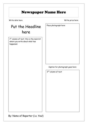 newspaper layout lesson plan the bfg newspaper article 7 x lesson bundle by