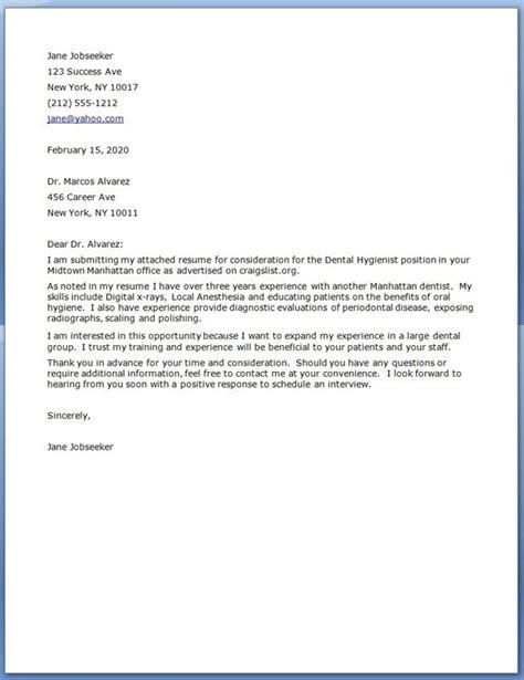 Dental Hygiene Cover Letter   Dental   Pinterest   Fields