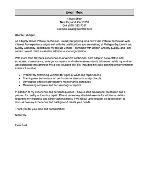 best transportation automotive technician cover letter