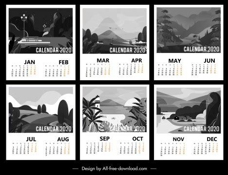 calendar templates black white classic scenery decor vectors stock  format