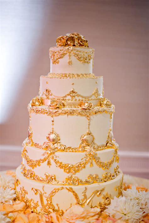 gold themed cake metallic wedding cakes belle the magazine