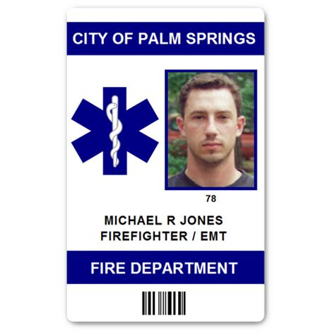 firefighter id cards template department emt pvc id card