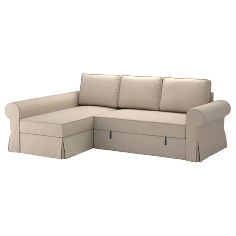 Ottoman Beds Ikea Backabro Sofa Bed With Chaise Longue Ramna Beige Ikea