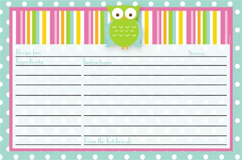 owl printable recipe cards i should be mopping the floor friday s freebie recipe