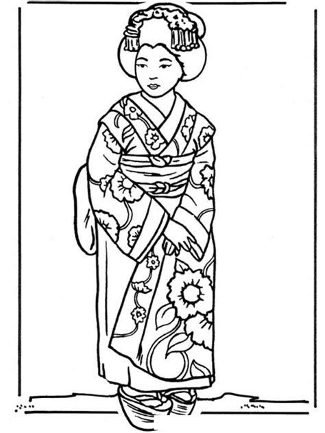 Imagenes Japonesas Para Pintar | dibujo de geisha japonesa con kimono para pintar y