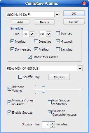 itunes alarm clock let itunes you up