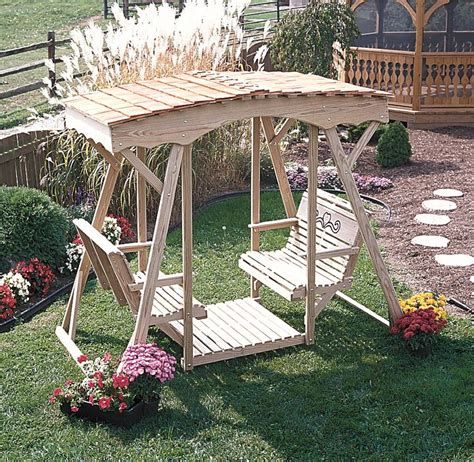 lawn glider swing pine cutout heart double glider by dutchcrafters amish