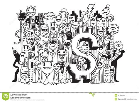 doodle money doodle money doodle drawing style stock vector