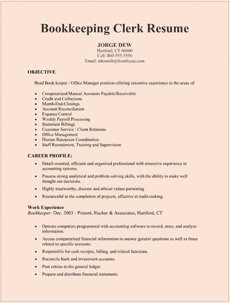 Sle Resume Bookkeeper bookkeeper resume sle bookkeeper resume bookkeeper
