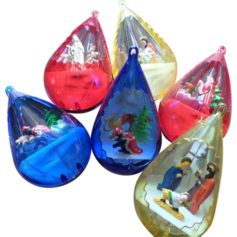 plastic jewelbrite diorama christmas ornament set from