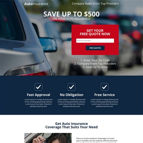 get free auto insurance quotes zip lp 036 auto insurance mobile responsive landing page designs for marketing leads