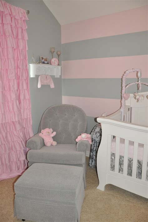 pink and white striped bedroom walls peyton s pink and gray nursery pink striped walls