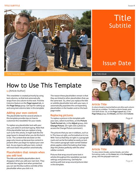 free newsletter template office templates